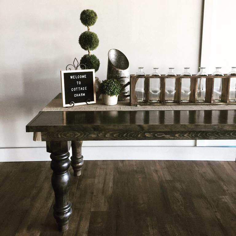 Birch Table (old English legs) - finish: charcoal
