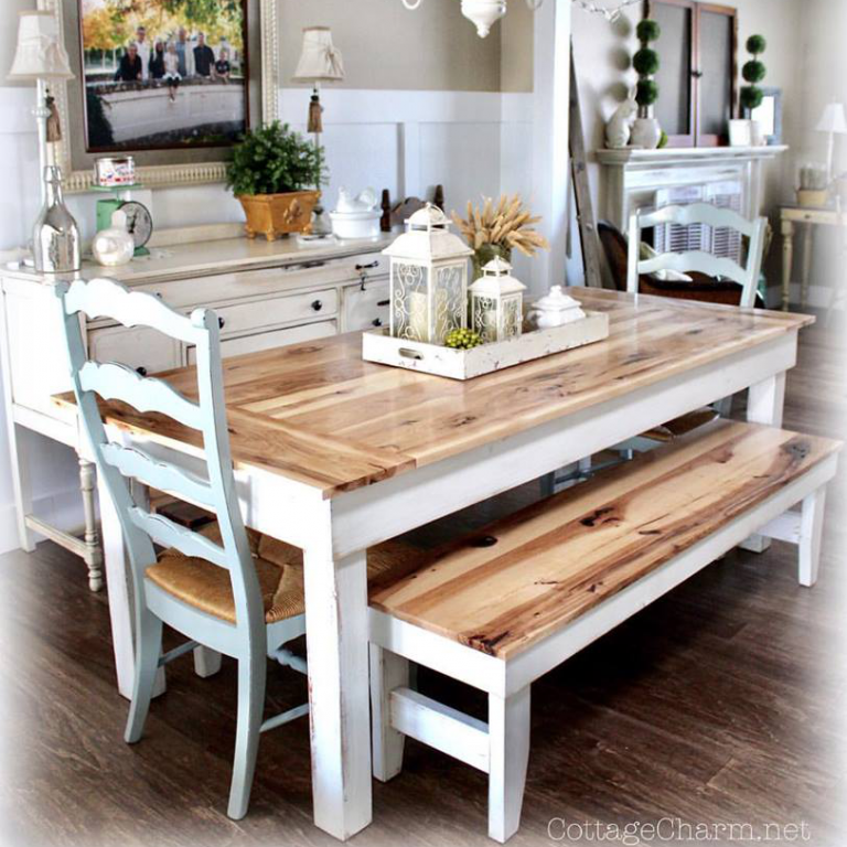 Hickory Breadboard Set - finish: natural planks, white distressed base