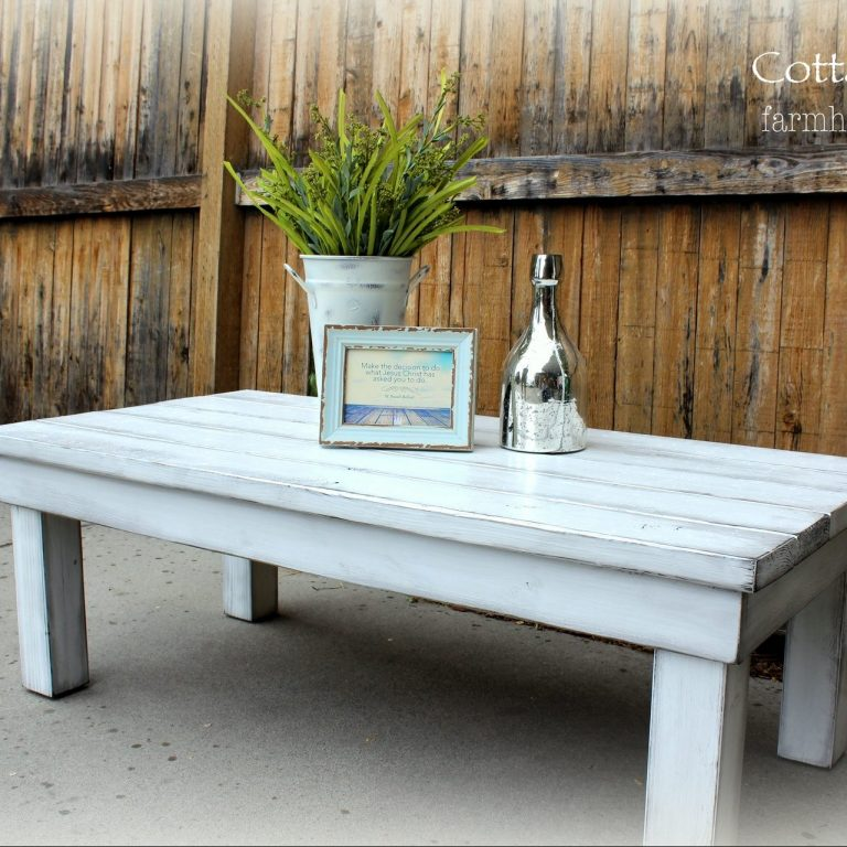 Chunky Coffee Table (long) - finish: bright white, grey overlay, medium distressing