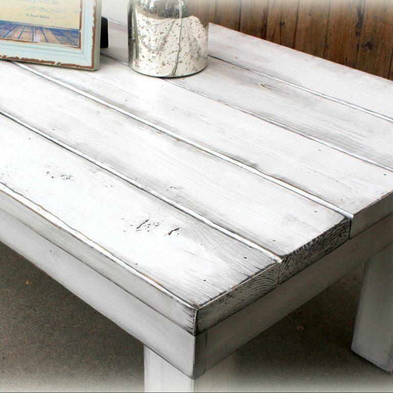 Chunky Coffee Table (long) - finish: bright white, grey overlay, medium distressing
