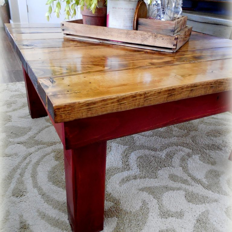Chunky Coffee Table square) - finish: provincial top, colonial red base, medium distressing