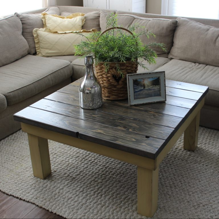 Chunky Coffee Table square - finish: driftwood top, strawflower base, light distressing
