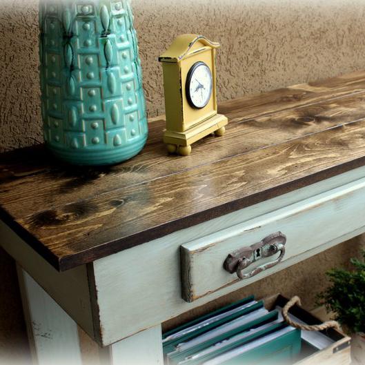 Console Table (faux drawer) - finish: dark walnut top, blue mist base, medium distressing