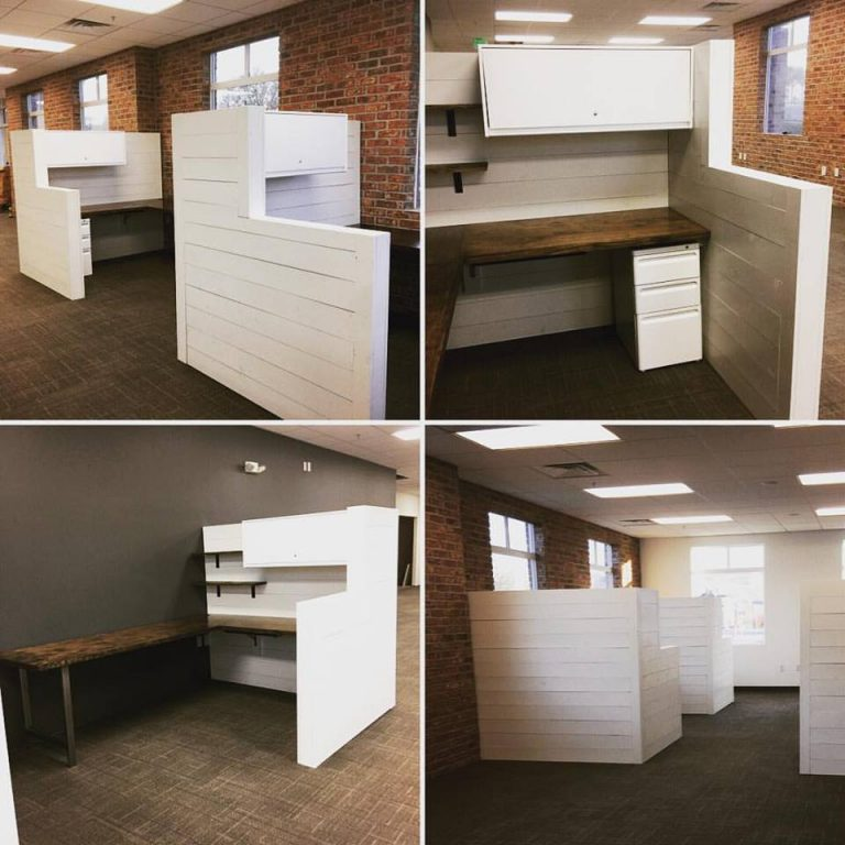 Shiplap Office Cubicles - Free standing shiplap cubicles with wrap around birch desk, stainless steel legs, and gliding undermount drawer. (overhead compartment, file cabinet & shelves sold separately)