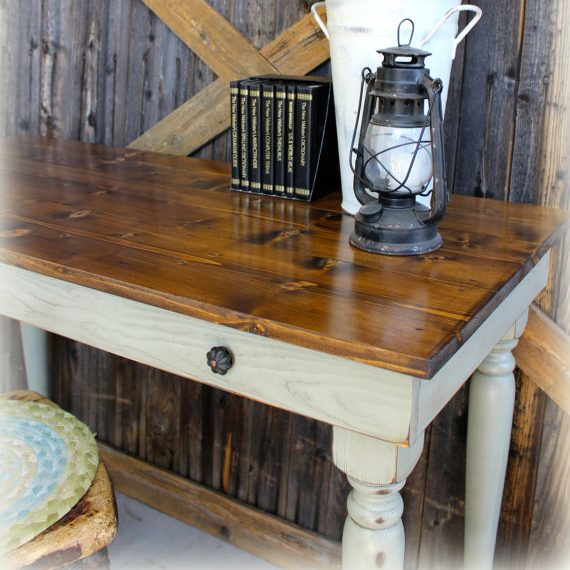 Early American Writing Desk - finish: provincial top, blue mist base, light distressing