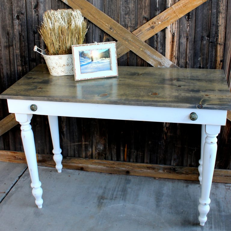 Early American Writing Desk - finish: driftwood top, bright white base, light distressing