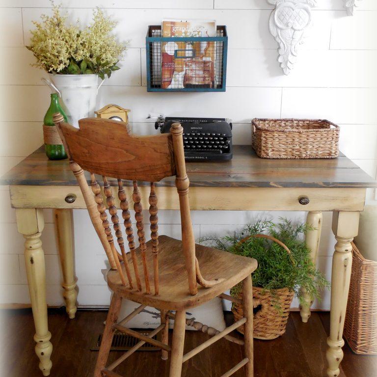 Early American Writing Desk - finish: driftwood top, strawflower base, medium distressing