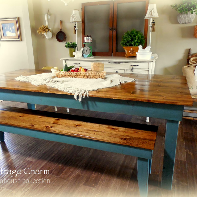 Provincial Farm Table - finish: provincial top, turquoise base, light distressing