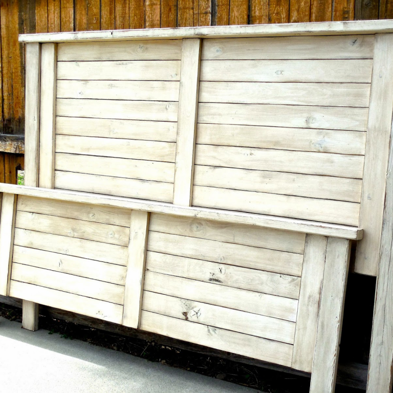 Shutter-Style Headboard/Footboard - finish: antique white, tea stain glaze, medium distressing