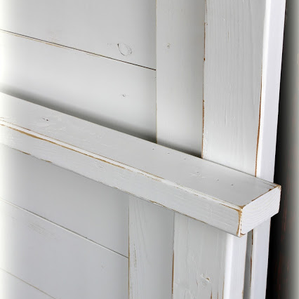 Shutter-Style Headboard - finish: bright white, light distressing