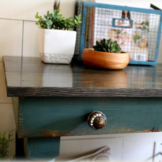 Early American Writing Desk - finish: turquoise base, charcoal top