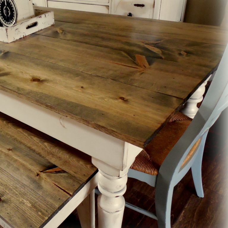 Old English Table - finish: barn wood top, antique white base, light distressing