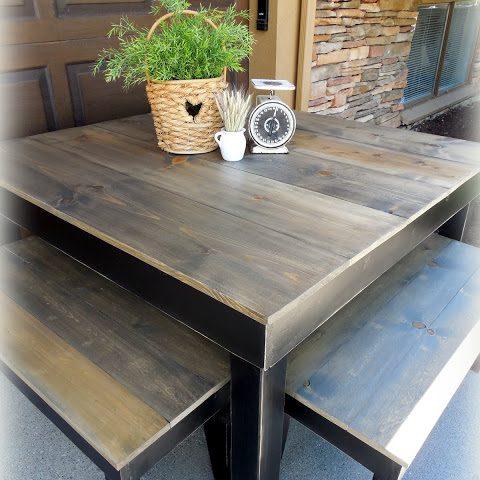 Provincial Farm Table - finish: driftwood top, black base, light distressing