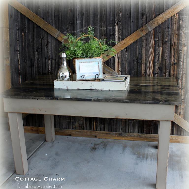 Provincial Farm Table - finish: charcoal grey top, pewter base, medium distressing