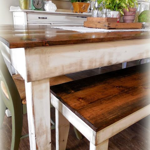 Provincial Farm Table - finish: provincial top, antique white base, medium distressing