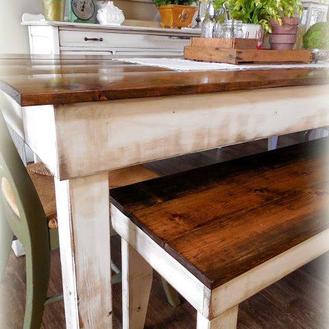 Provincial Farm Table - finish: provincial top, antique white base, medium distressing
